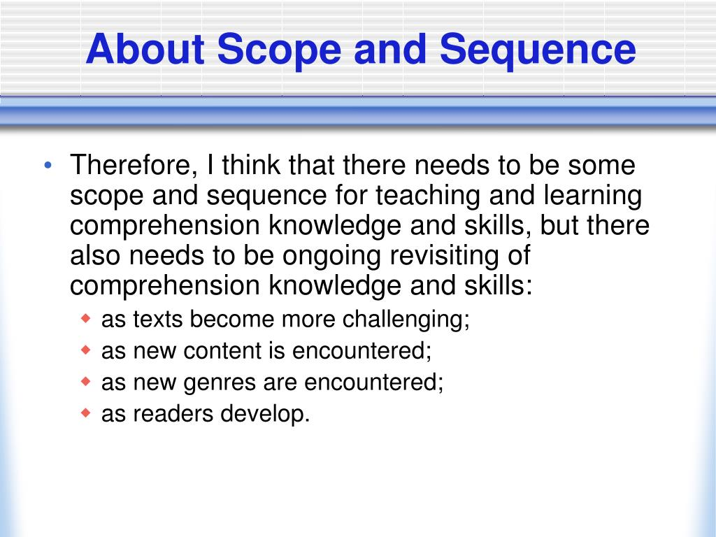 About Scope and Sequence