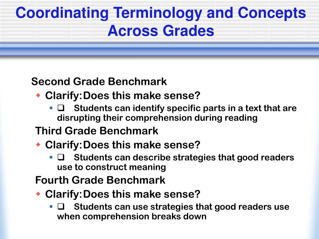 Coordinating Terminology and Concepts Across Grades