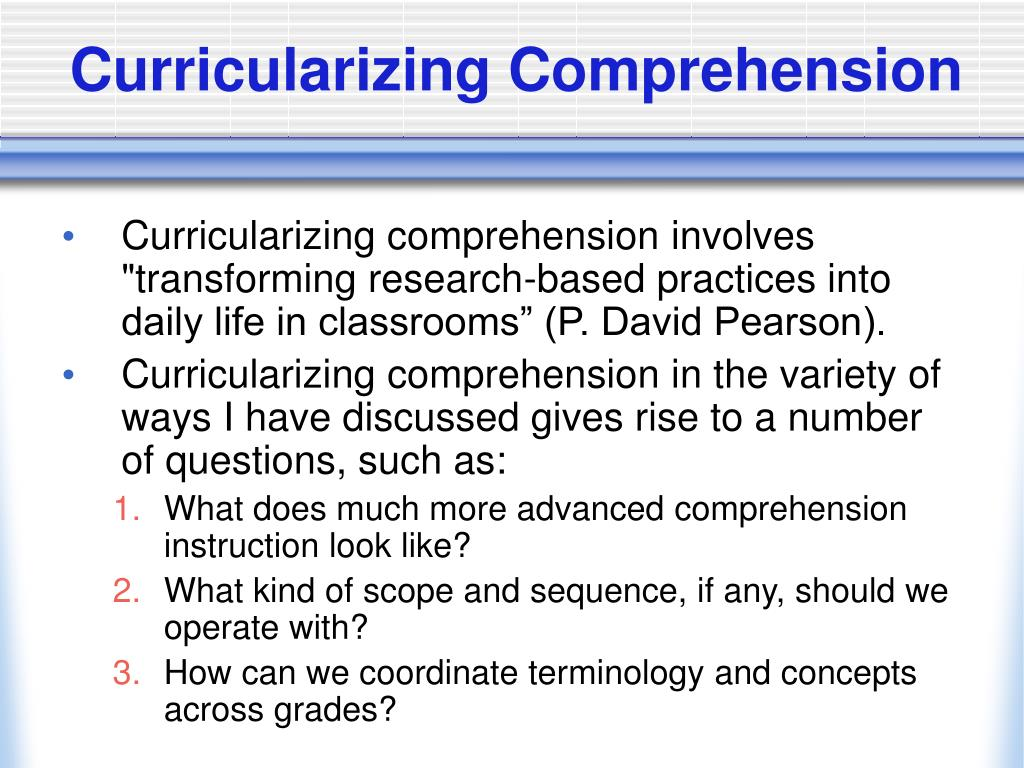 Curricularizing Comprehension