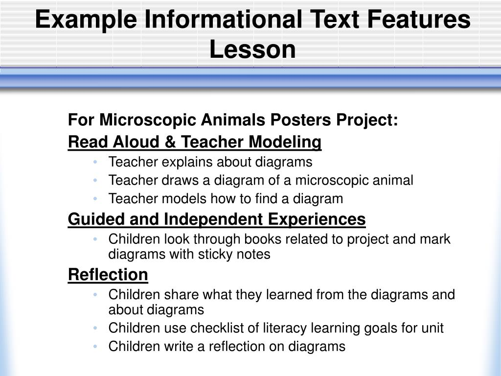 Example Informational Text Features Lesson