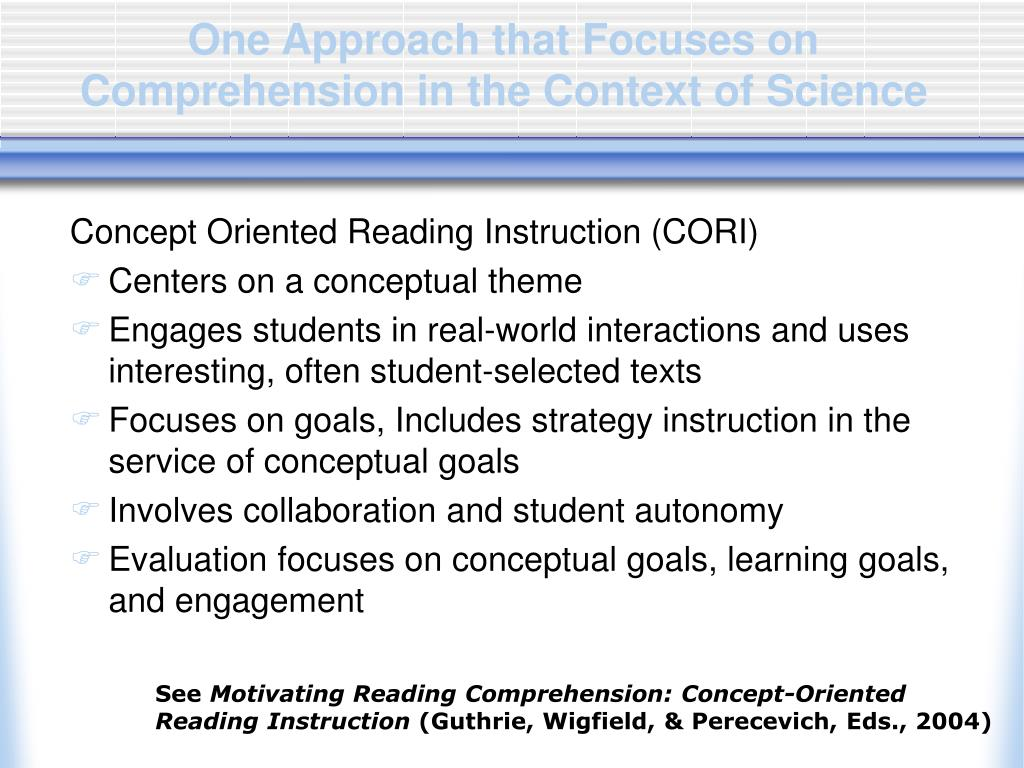 One Approach that Focuses on Comprehension in the Context of Science