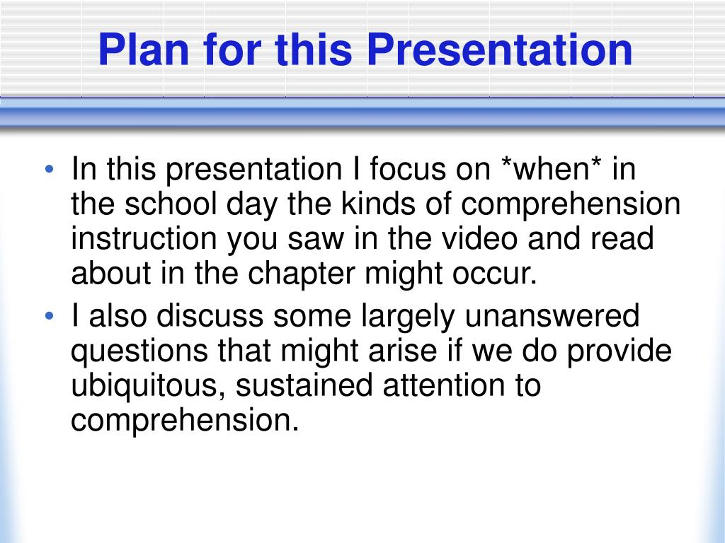 Plan for this Presentation