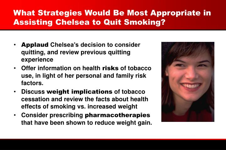 What Strategies Would Be Most Appropriate in Assisting Chelsea to Quit Smoking?