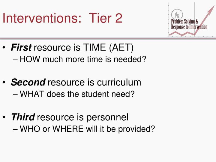 Interventions:  Tier 2