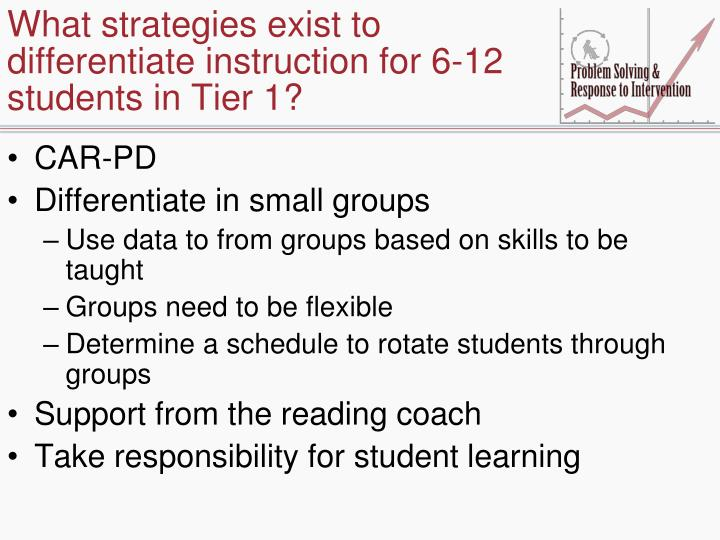 What strategies exist to differentiate instruction for 6-12 students in Tier 1?