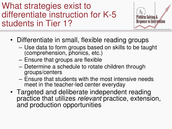 What strategies exist to differentiate instruction for K-5 students in Tier 1?