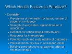 which health factors to prioritize