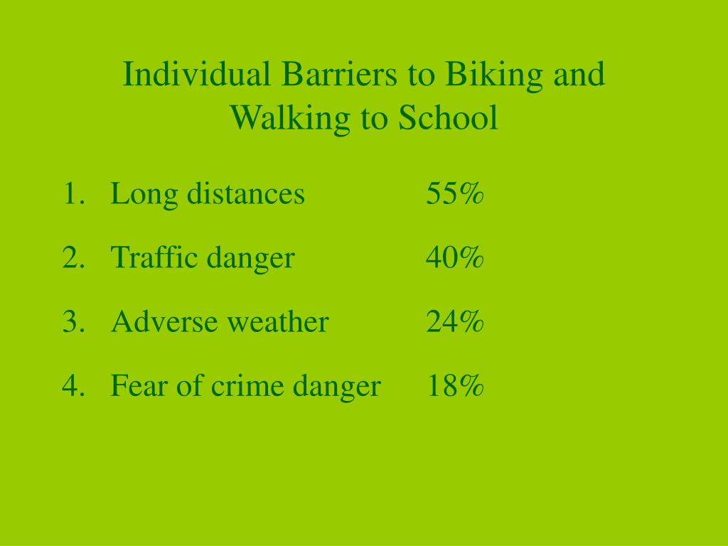Individual Barriers to Biking and Walking to School