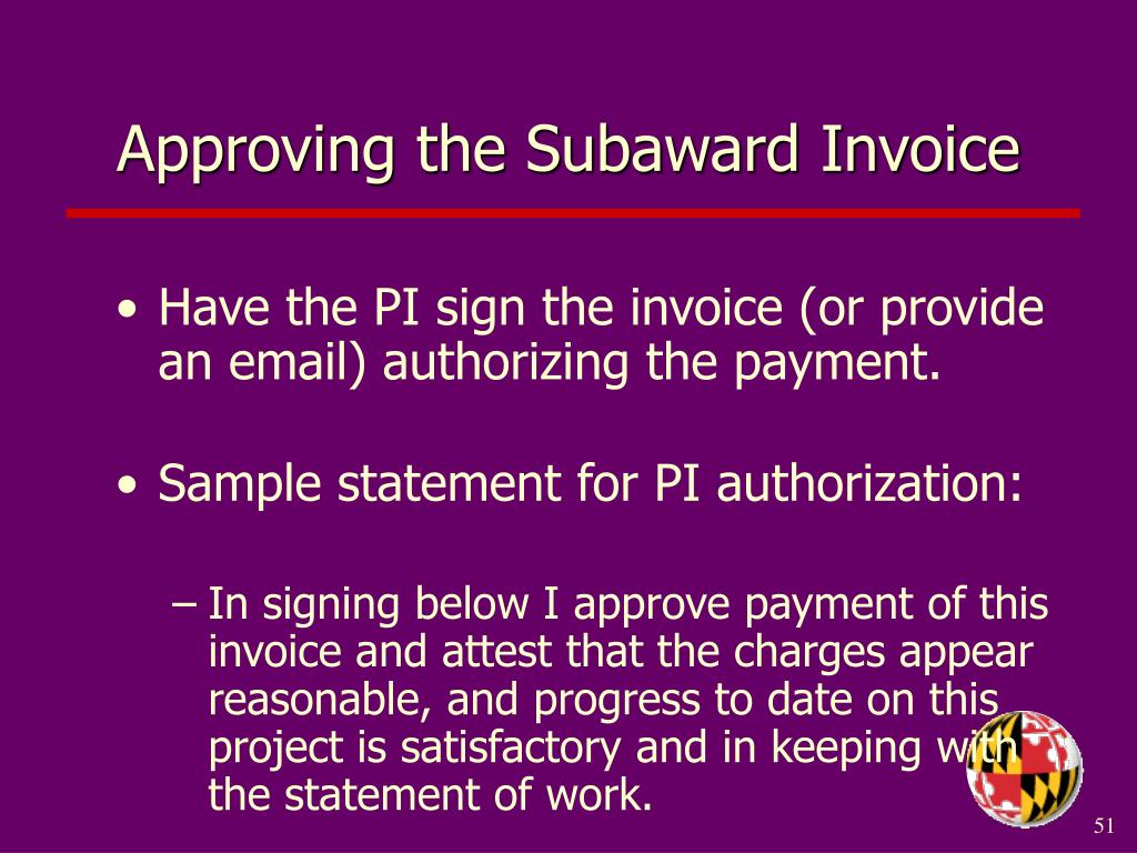 Approving the Subaward Invoice