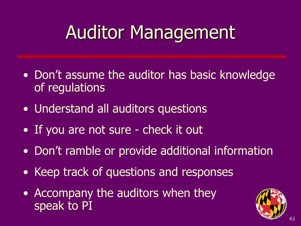Auditor Management