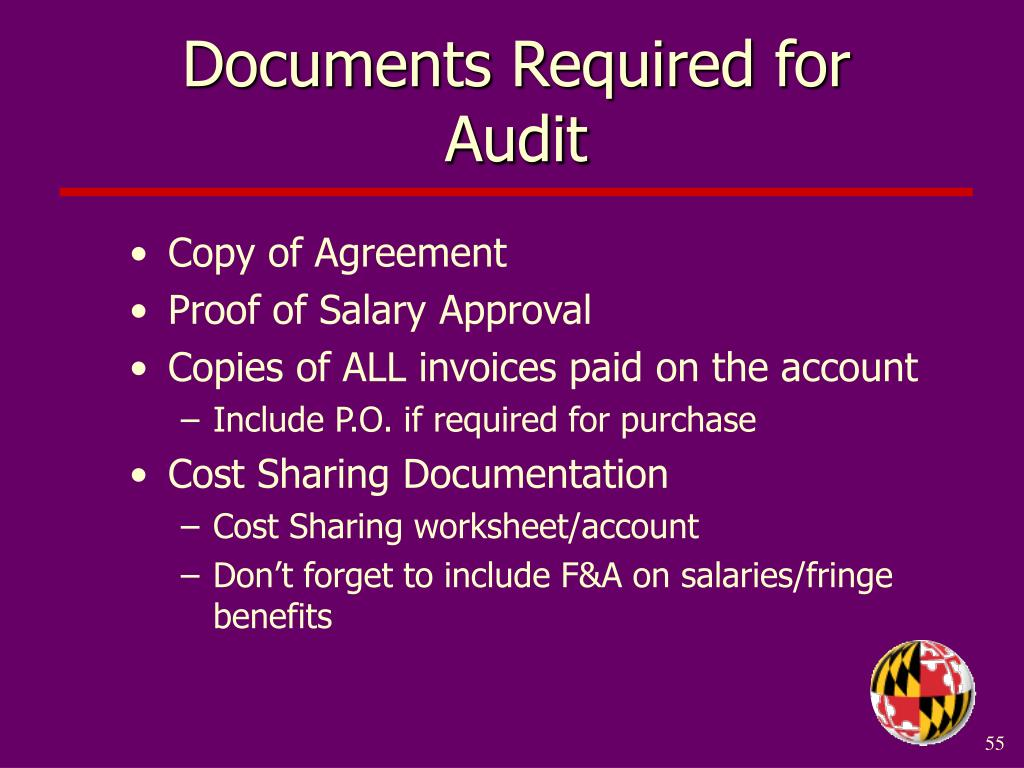 Documents Required for Audit