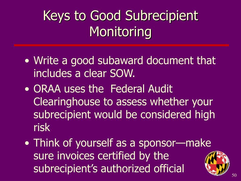 Keys to Good Subrecipient Monitoring