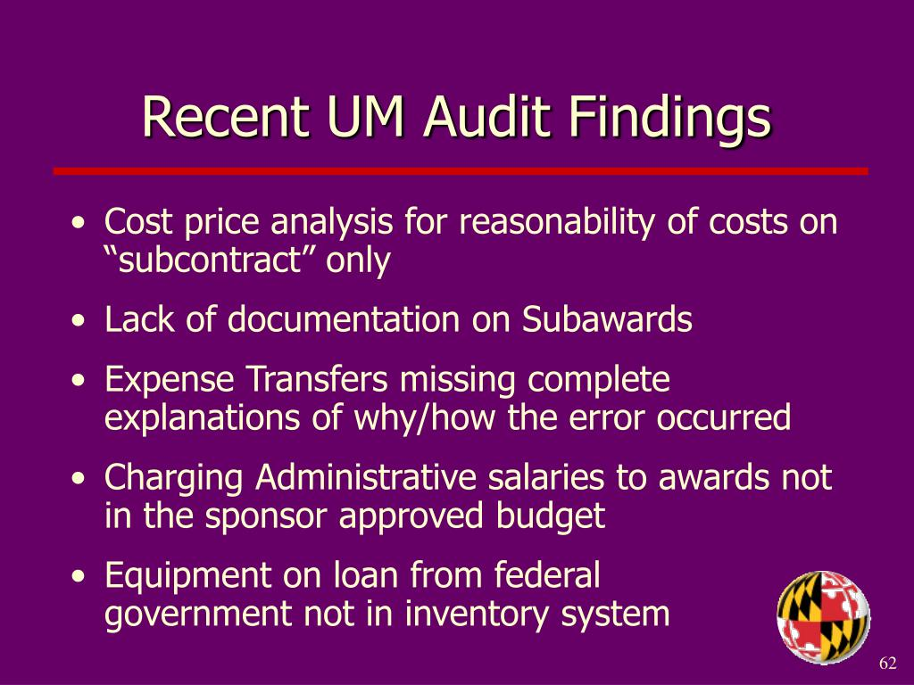 Recent UM Audit Findings