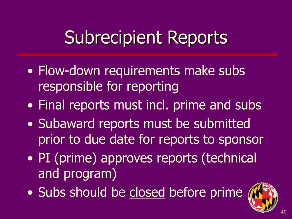 Subrecipient Reports