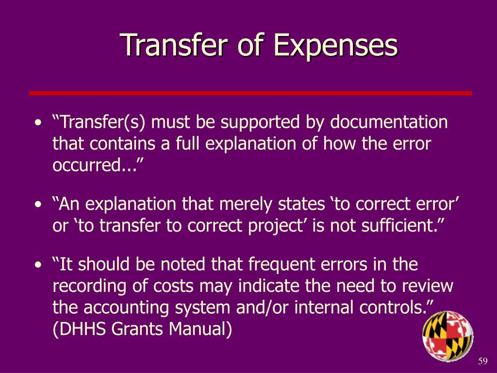 Transfer of Expenses