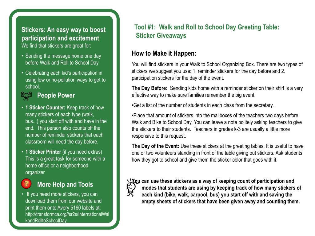 PPT - Walk and Roll to School Handbook 2009 PowerPoint