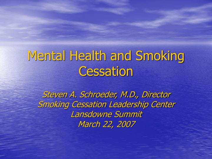 mental health and smoking cessation n.
