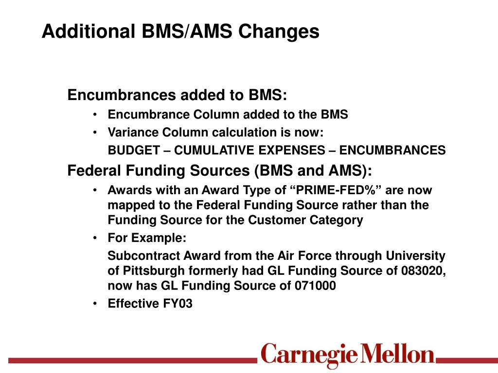 Additional BMS/AMS Changes