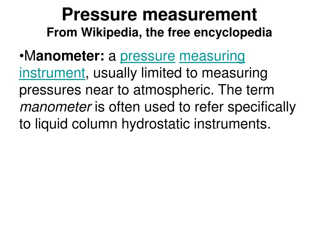 pressure measurement from wikipedia the free encyclopedia l.
