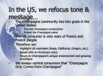 in the us we refocus tone message