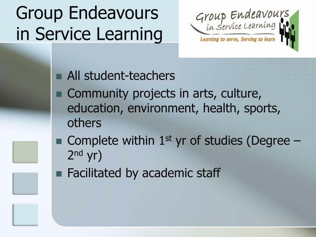 Group Endeavours in Service Learning