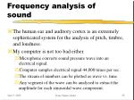 frequency analysis of sound