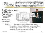 the physics of music and musical reproduction autumn 2000 mon wed 4 20 5 35pm call 18539