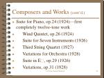 composers and works cont d