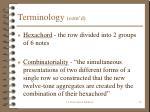 terminology cont d