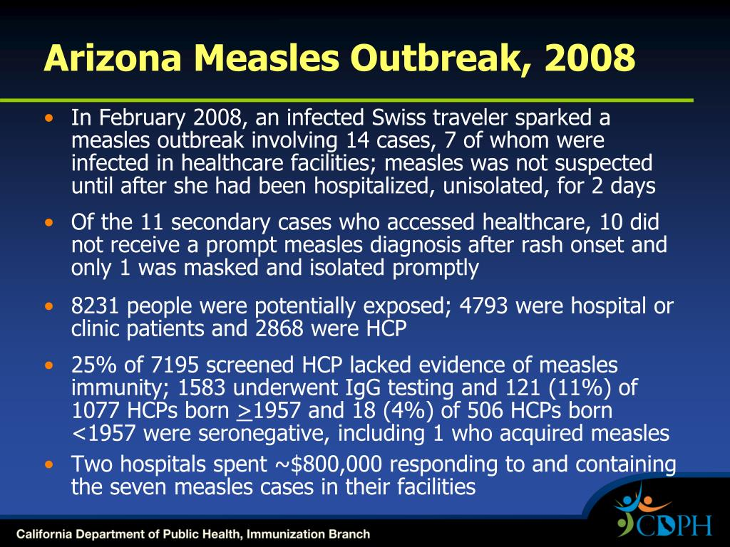 Arizona Measles Outbreak, 2008