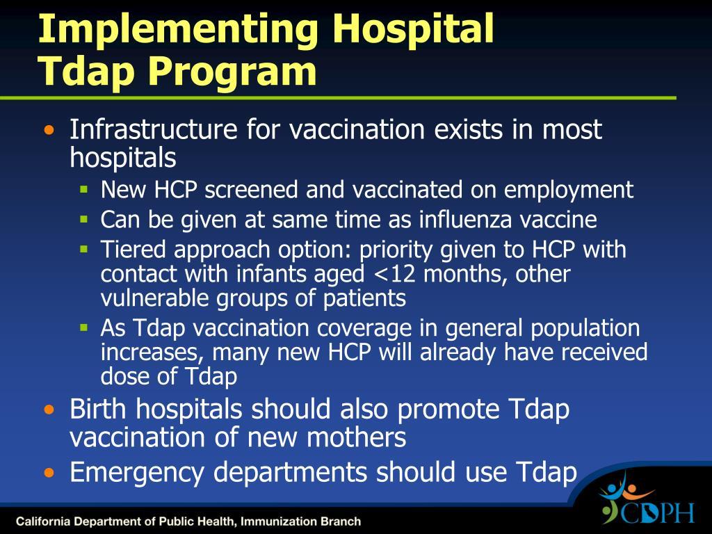 Implementing Hospital          Tdap Program