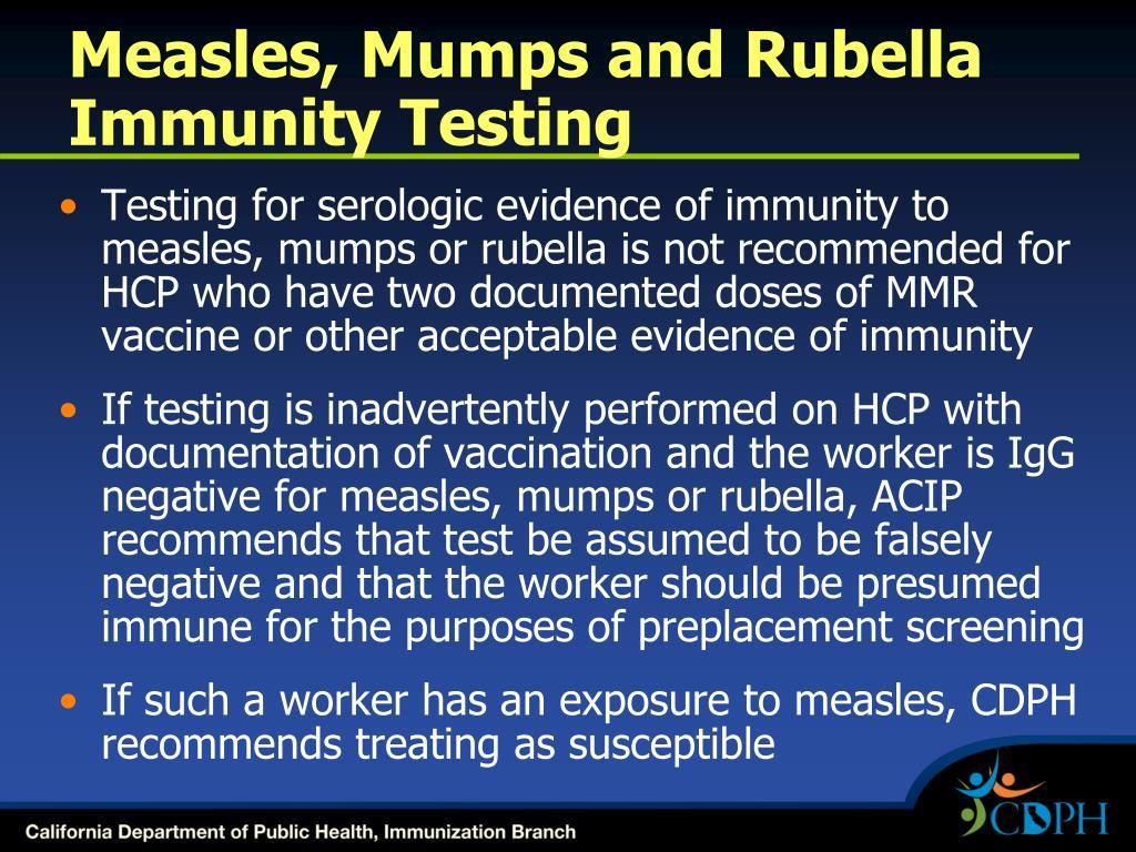 Measles, Mumps and Rubella Immunity Testing