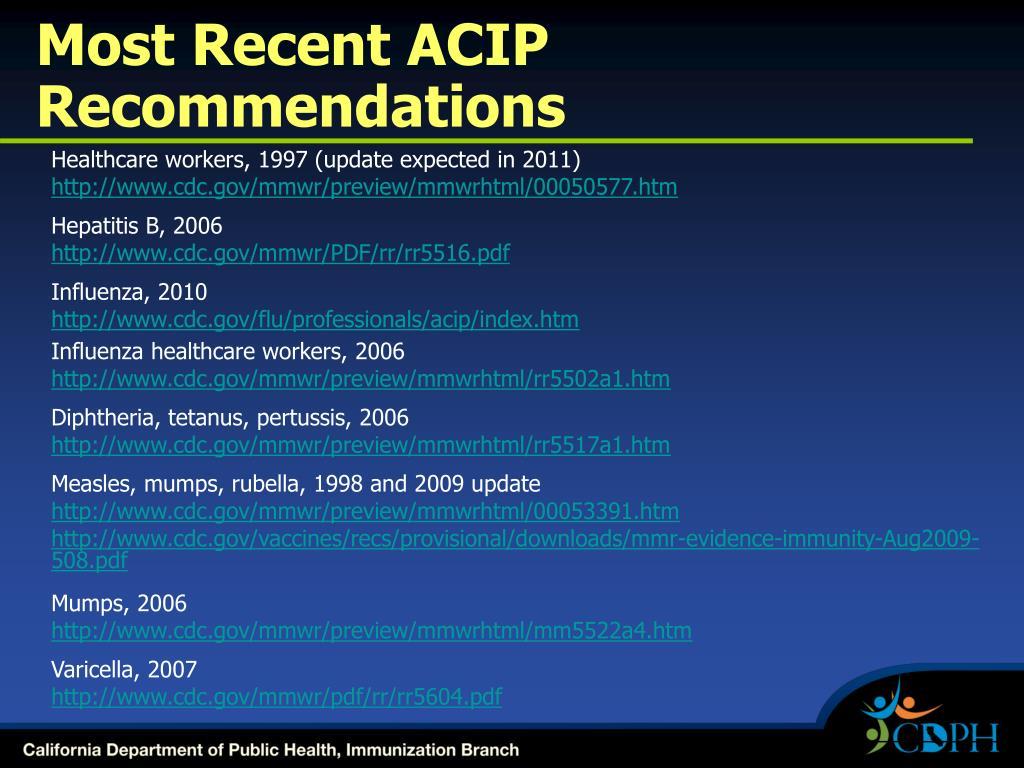 Most Recent ACIP Recommendations
