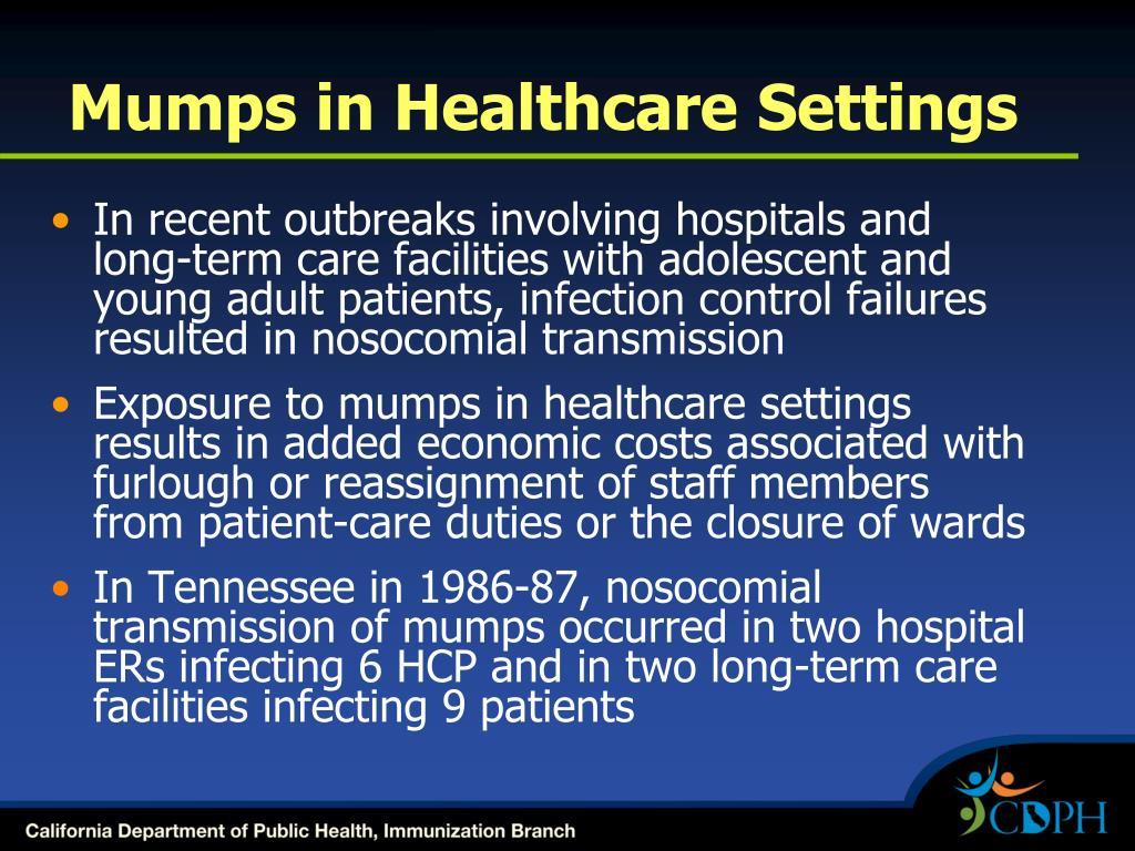 Mumps in Healthcare Settings