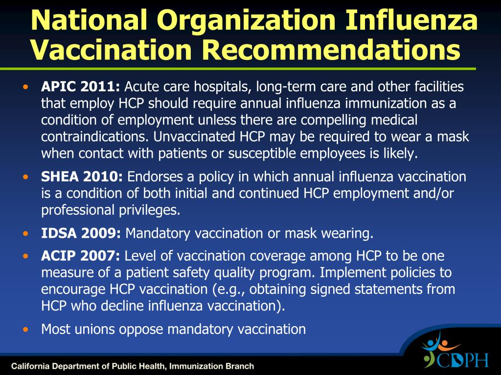 National Organization Influenza Vaccination Recommendations
