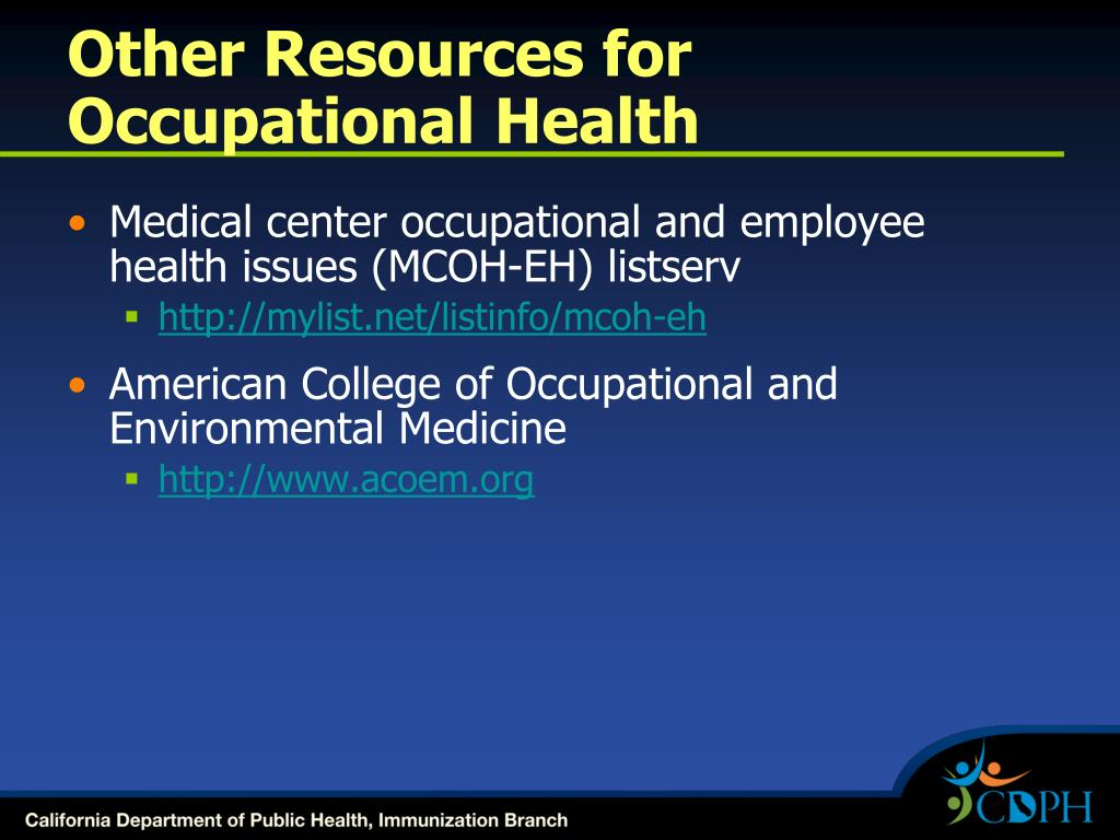 Other Resources for Occupational Health