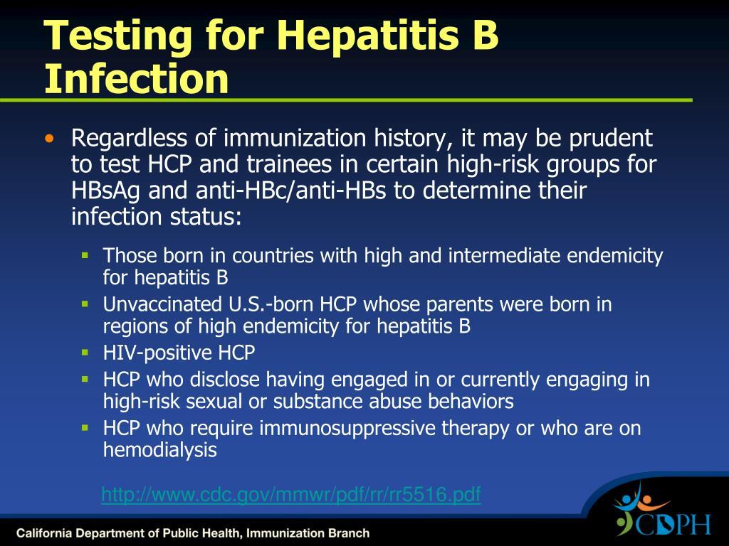 Testing for Hepatitis B Infection