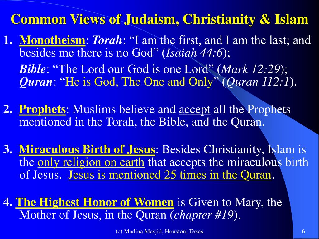 an overview of the practice of monotheism in judaism christianity and islam
