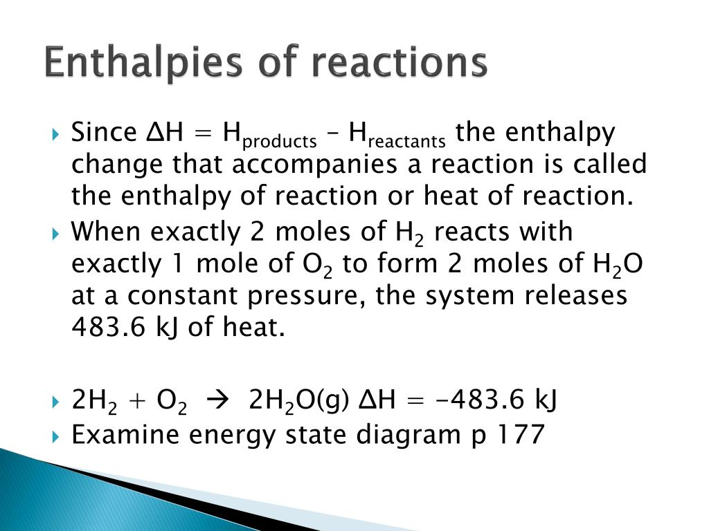 Enthalpies of reactions