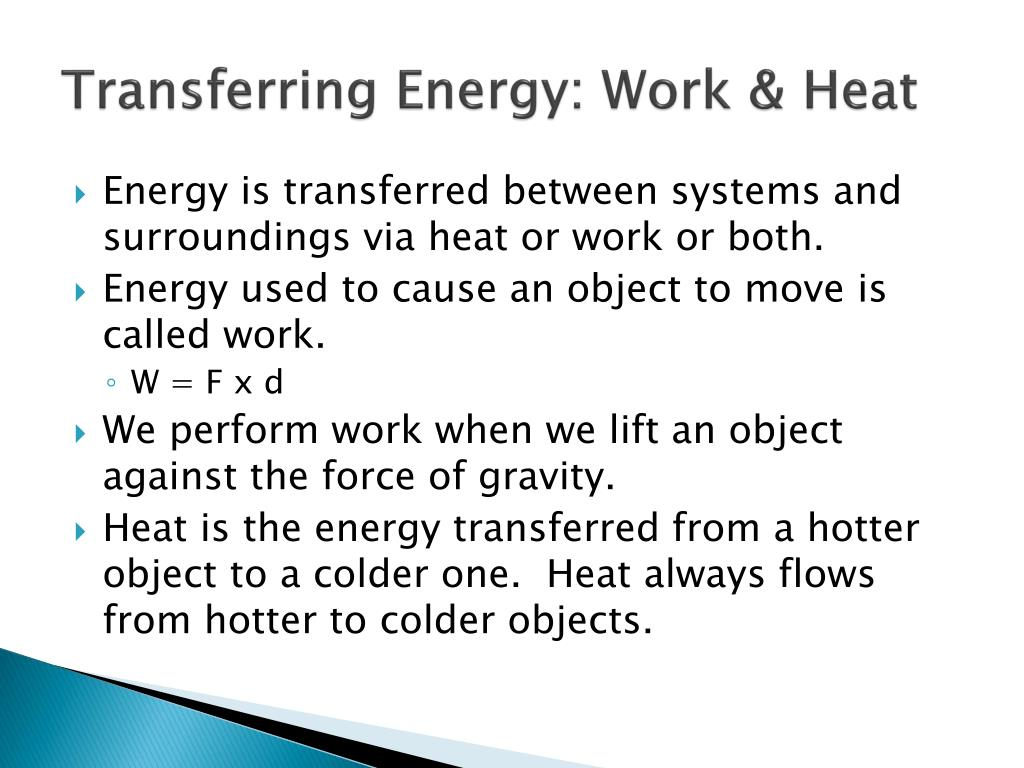 Transferring Energy: Work & Heat