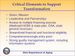 critical elements to support transformation