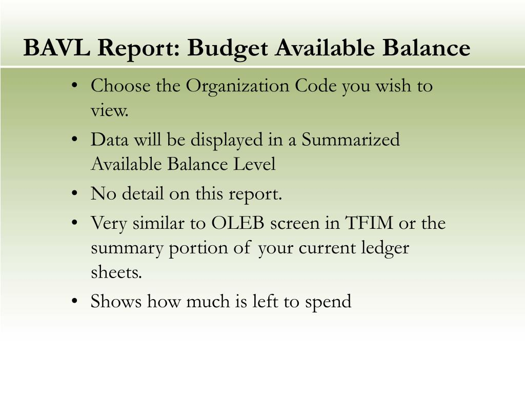 BAVL Report: Budget Available Balance