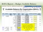 bavl report budget available balance20