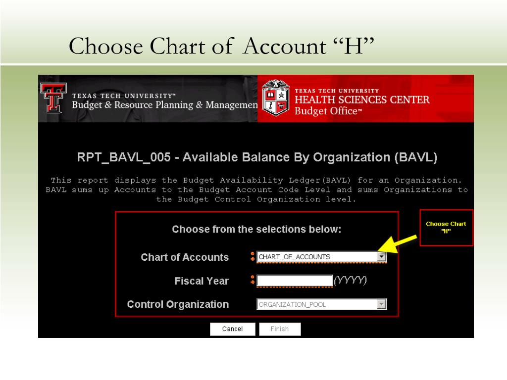 "Choose Chart of Account ""H"""