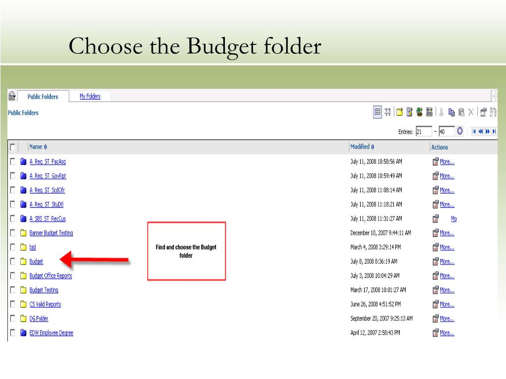 Choose the Budget folder
