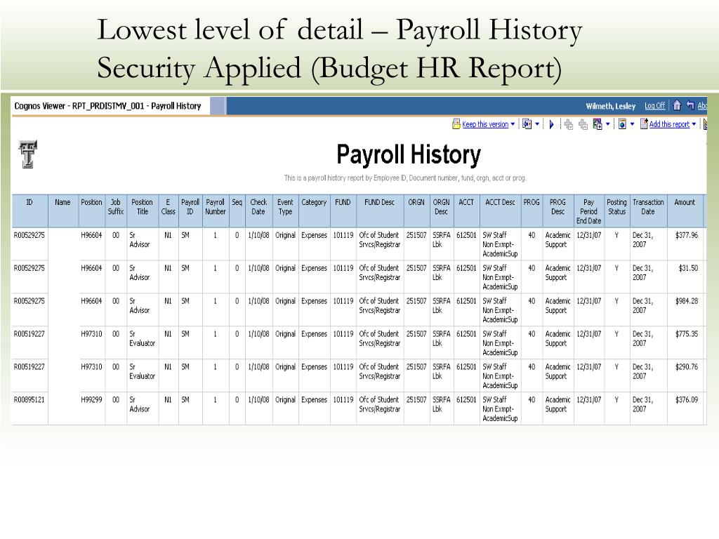 Lowest level of detail – Payroll History
