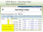 opal report operating ledger more detailed information