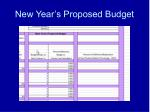 new year s proposed budget