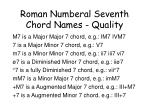 roman numberal seventh chord names quality