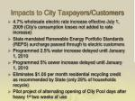 impacts to city taxpayers customers